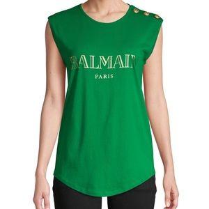 Balmain Logo sleeveless t shirt light green size 4